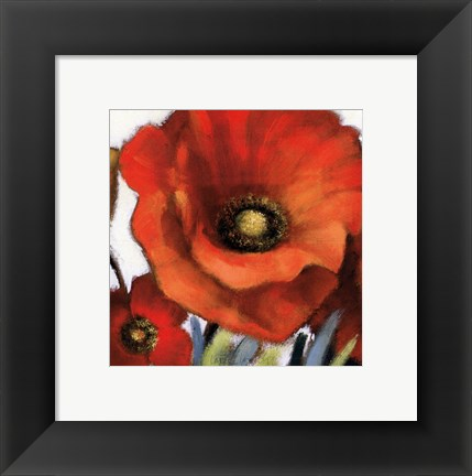 Framed Poppy Splendor Square I (Closeup) Print