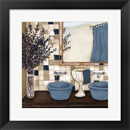 Framed Blue zen bath I Print