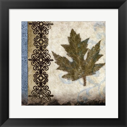 Framed decorative leaf II Print