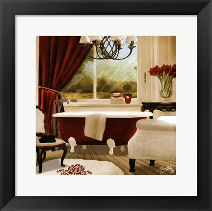Framed Red Chandelier Bath II Print
