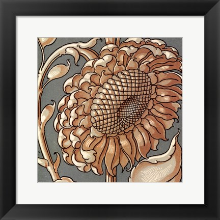 Framed Sunflower Woodblock II Print