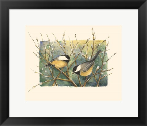 Framed Chickadees and Pussy Willow Print