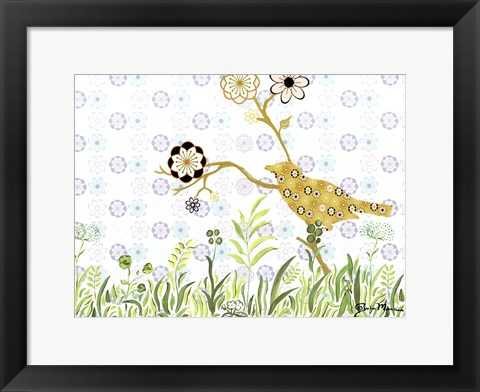 Framed Bird on a Limb Print