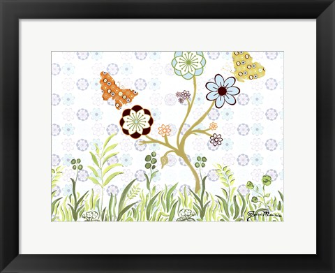 Framed Butterflies on a Limb Print