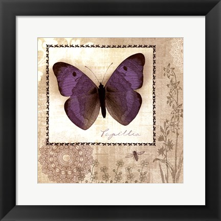 Framed Butterfly Notes I Print
