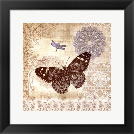 Framed Butterfly Notes II Print