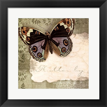 Framed Butterfly Notes IV Print