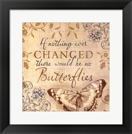 Framed Butterfly Notes VI Print