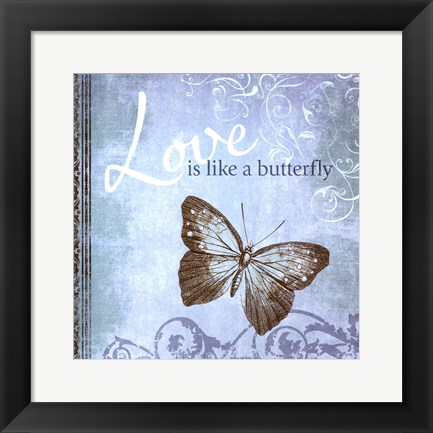 Framed Butterfly Notes IX Print