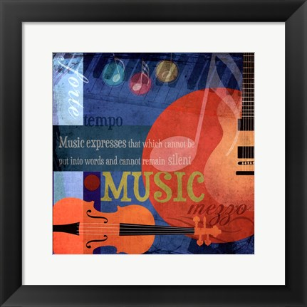 Framed Music Notes X Print