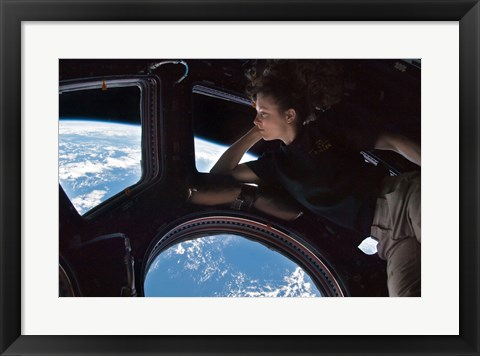 Framed Tracy Caldwell Dyson in the Cupola Observing the Earth during Expedition 24 Print