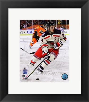 Framed Ryan Callahan 2012 NHL Winter Classic Action Print