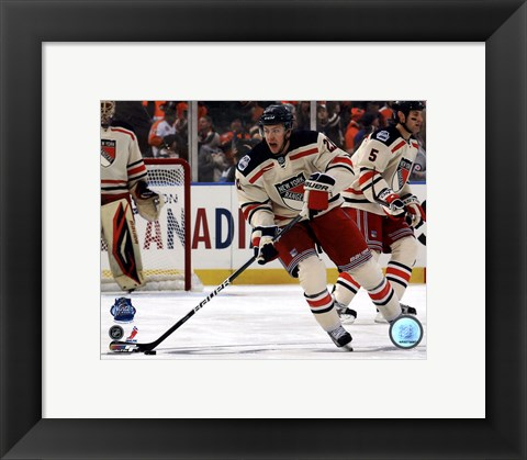 Framed Derek Stepan 2012 NHL Winter Classic Action Print