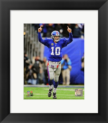 Framed Eli Manning 2011 NFC Wild Card Playoff Action Print