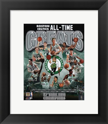 Framed Boston Celtics All Time Greats Composite Print