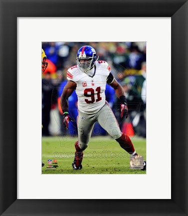 Framed Justin Tuck NFC Divisional Playoff Game Action Print