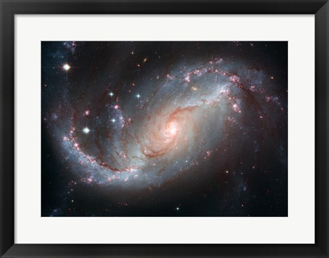 Framed Galaxy's Star Forming Clouds and Dark Bands of Interstellar Dust Print