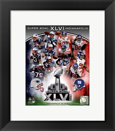Framed SuperBowl XLVI Match Up Composite Print