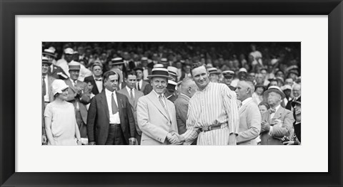 Framed US President Calvin Coolidge Presenting the American League Diploma to Walter Johnson Print