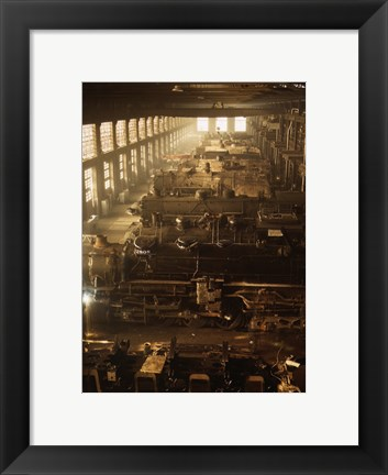 Framed North Western Railway Locomotive Shops, Chicago, Illinois Print