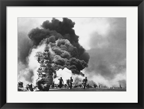Framed USS Bunker Hill Hit by Two Kamikazes Print