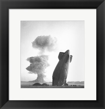 Framed U.S. Navy Goodyear ZSG-3 Blimp, Nevada test Site, August 7, 1957 Print