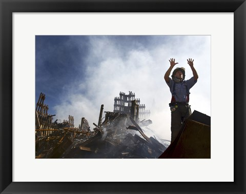 Framed New York City Fireman Calls for 10 More Rescue Workers, World Trade Center Print