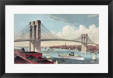 Framed Great East River Suspension Bridge Print