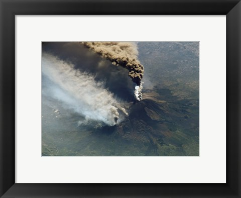 Framed Mt. Etna Eruption seen from the International Space Station Print