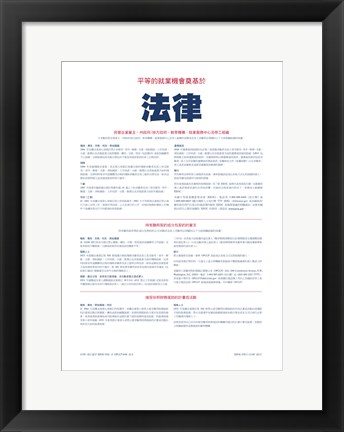 Framed Equal Opportunity Employment Chinese Version 2012 Print