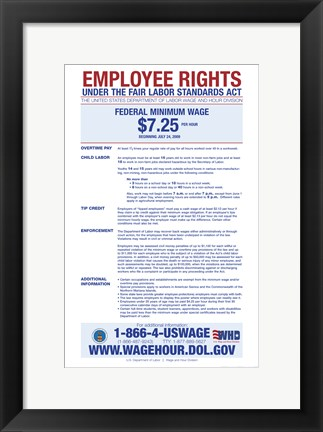 Framed Minimum Wage 2012 Print