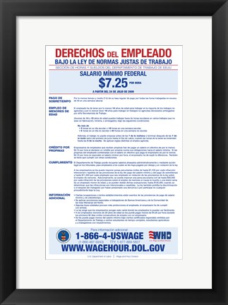 Framed Minimum Wage Spanish Version 2012 Print