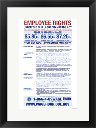 Framed State & Local Government Minimum Wage 2012 Print