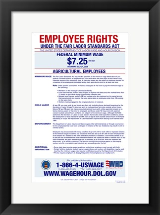 Framed Agricultural Employees Minimum Wage Print