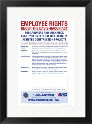 Framed Employee Rights Under the Davis-Bacon Act Print