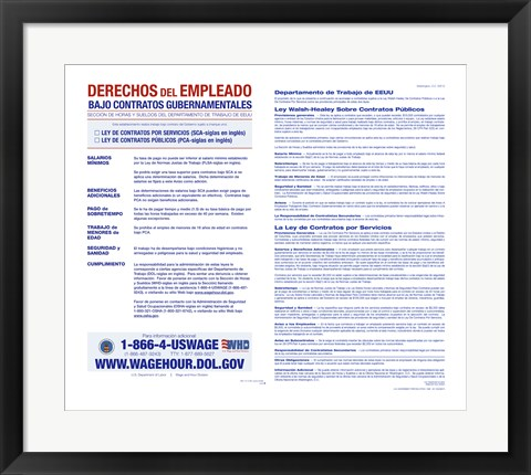 Framed Employee Rights on Government Contracts Spanish Version 2012 Print