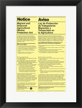 Framed Migrant and Seasonal Agricultural Worker Protection Act Print