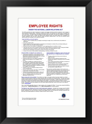 Framed Employee Rights Print