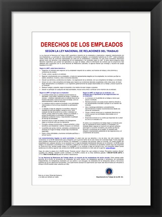 Framed Employee Rights Spanish Version Print