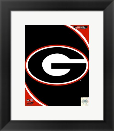 Framed University of Georgia Bulldogs Team Logo Print