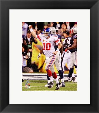 Framed Eli Manning Celebrates his Touchdown Pass Super Bowl XLVI Print
