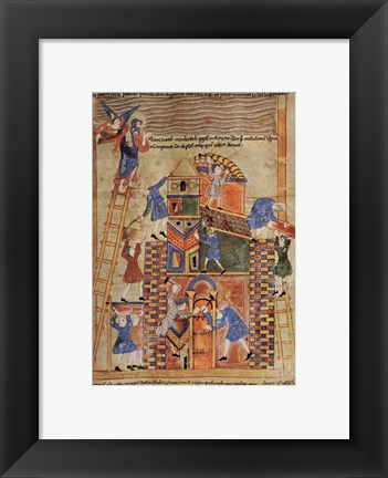 Framed Illustration to the Old English Illustrated Hexateuch showing the construction of the Tower of Babel. Print