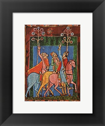 Framed St. Albans Psalter, The Three Magi following the star Print