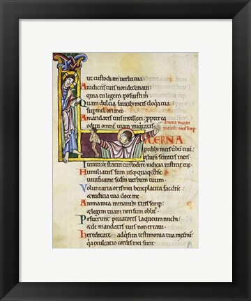 Framed Initial L from Psalm 118, verse 109th In Albani Psalter Print