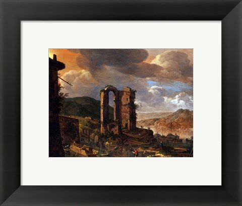 Framed Landscape with Roman Ruin Print