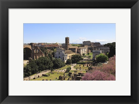 Framed Look from Palatine Hill Francesca Romana, Arch of Titus and Colosseum, Rome, Italy Print