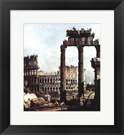 Framed Colosseum and the ruins of the Temple of Castor et Pollux Print