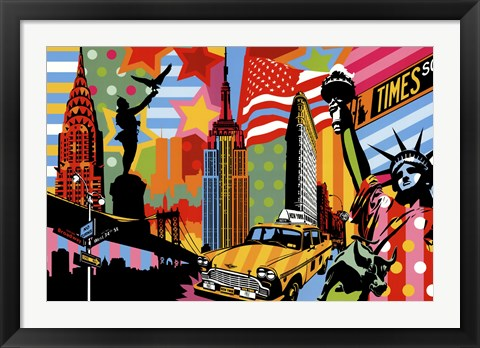 Framed New York Taxi I Print