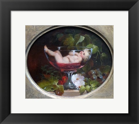 Framed Cupid in a Wine Glass Print