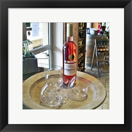 Framed Taster Glass Around a Bottle of Ventoux Rose Print